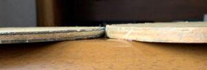 2本のラケットの板厚を比較した画像